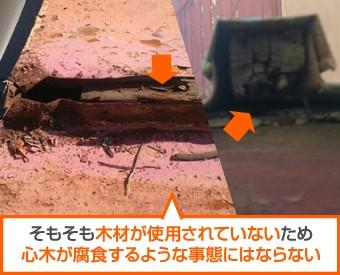 瓦棒葺きの腐食した心木