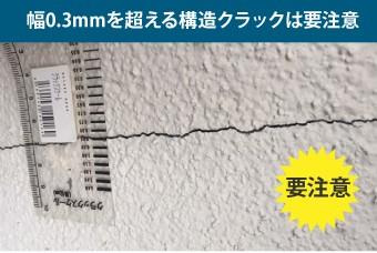 幅0.3mmを超える構造クラックは要注意
