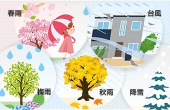 春雨・台風・梅雨・秋雨・降雪 一年を通して降水がある日本