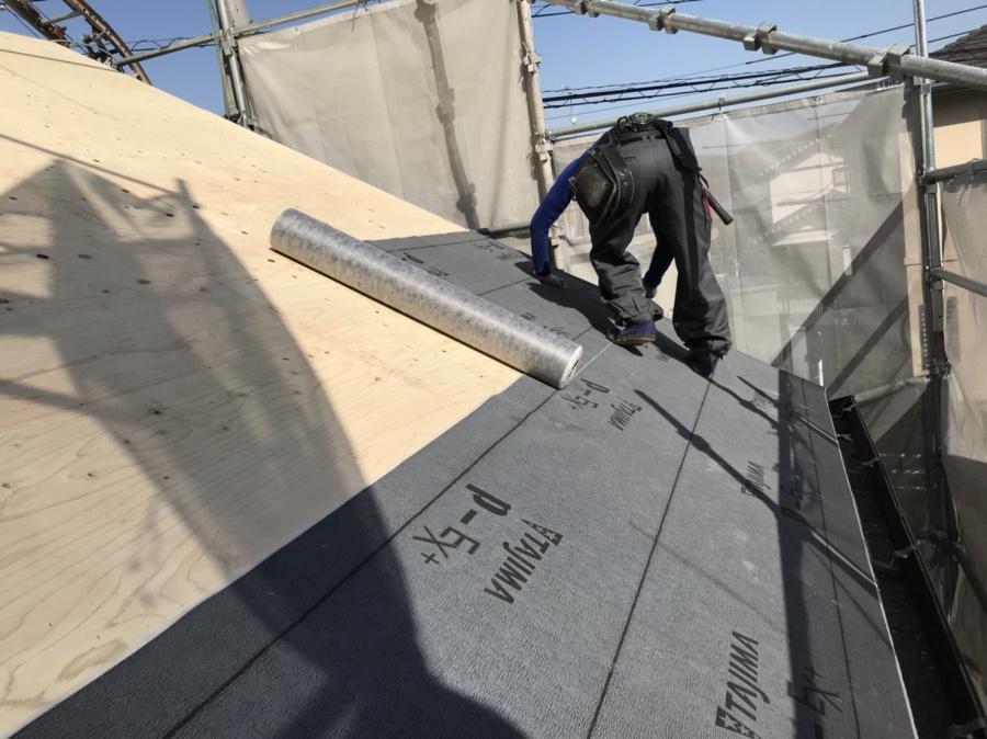 屋根葺き替え工事 ルーフィング貼り