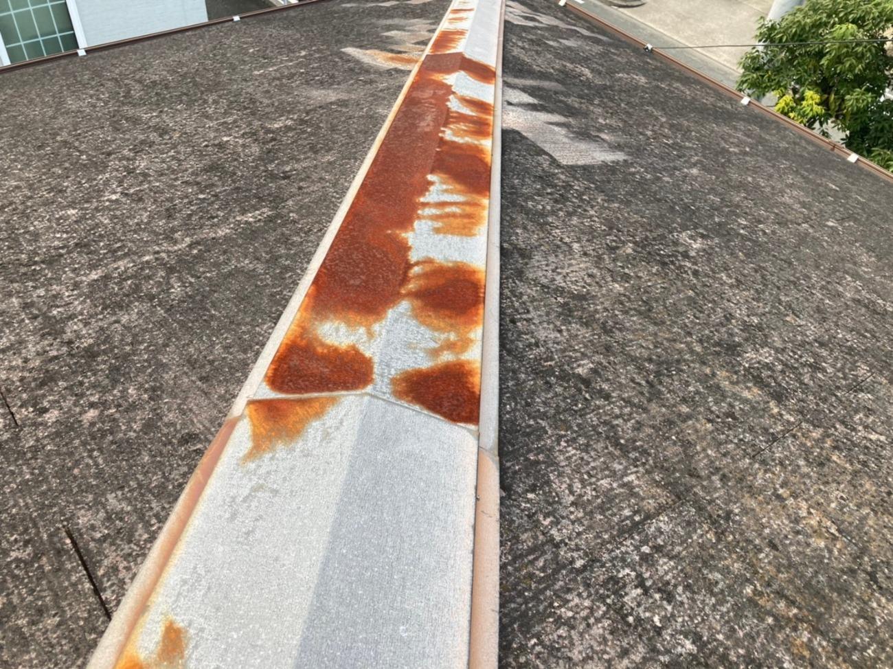 刈谷市にて台風被害になりそうな棟板金の交換工事がスタート