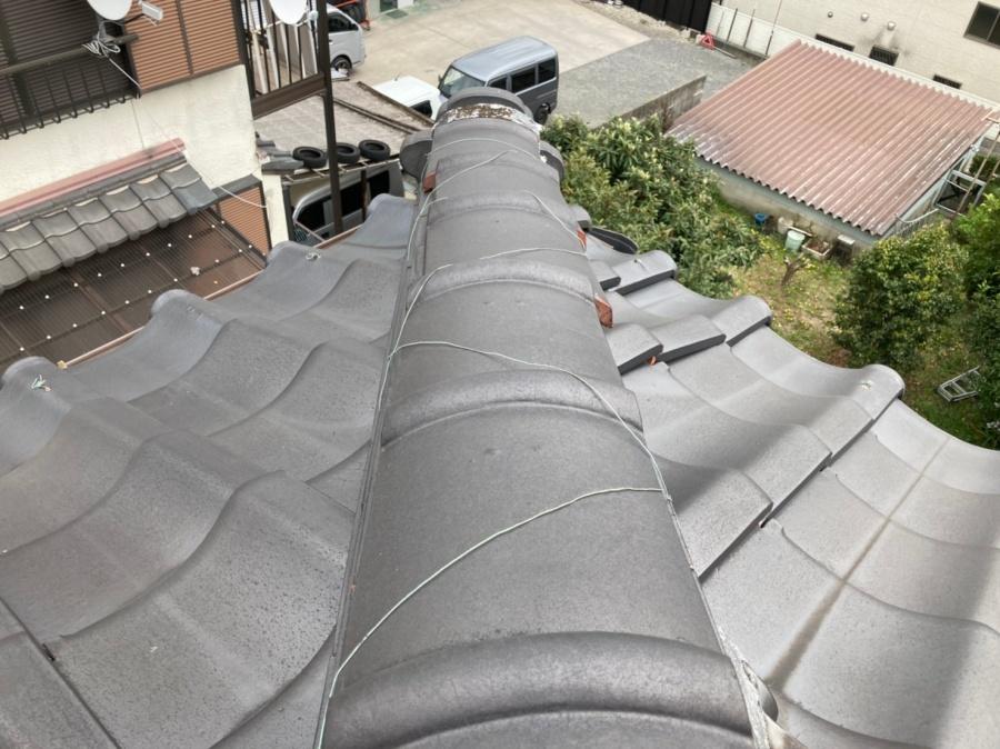 みよし市 瓦屋根 棟 上から
