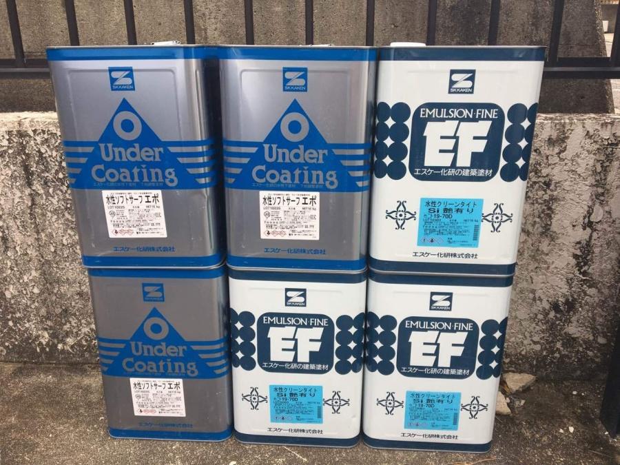 外壁塗装工事 使用前塗料缶