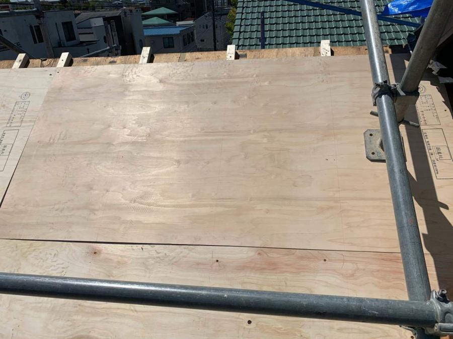 屋根葺き替え工事 コンパネ