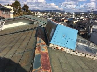 屋根点検 スレート カビやコケの付着 褪色