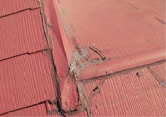 コーキングが打たれ色あせている屋根